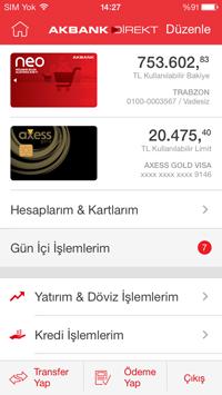 Akbank Direk Mobil - Dashboard
