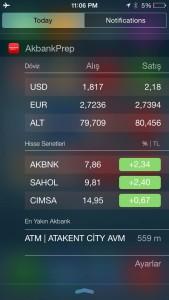 Akbank Direkt Mobil iOS 8 Widget